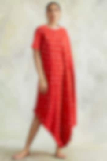 Red Gota Embroidered Cowl Dress by Palak & Mehak