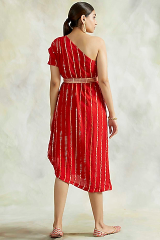 Red One Shoulder Cowl Dress With Belt by Palak & Mehak