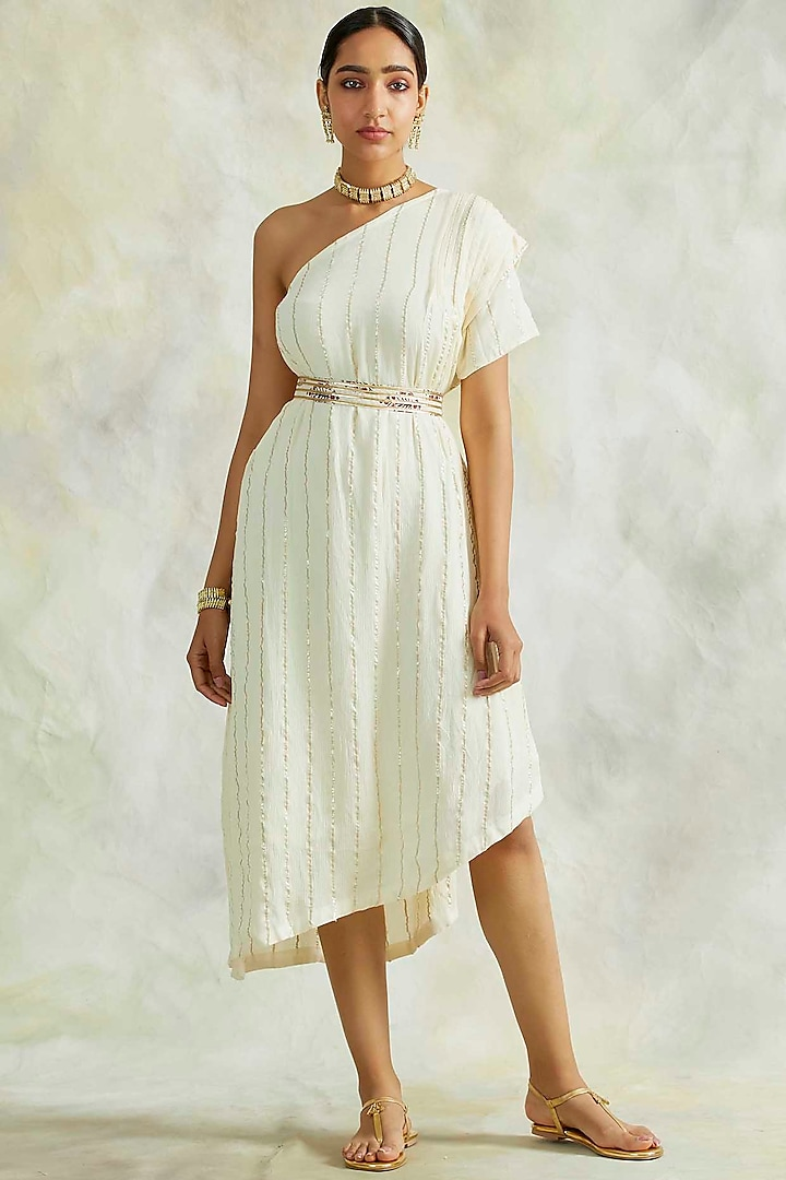 Cream One Shoulder Cowl Dress With Belt by Palak & Mehak