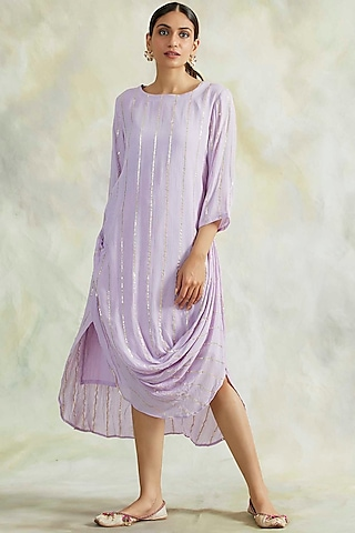 Lilac Cowl Dress With Gold Lurex Details by Palak & Mehak