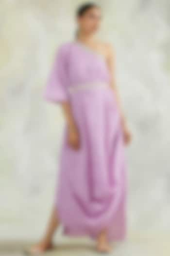 Lavender Hand Embroidered One Shoulder Dress by Palak & Mehak