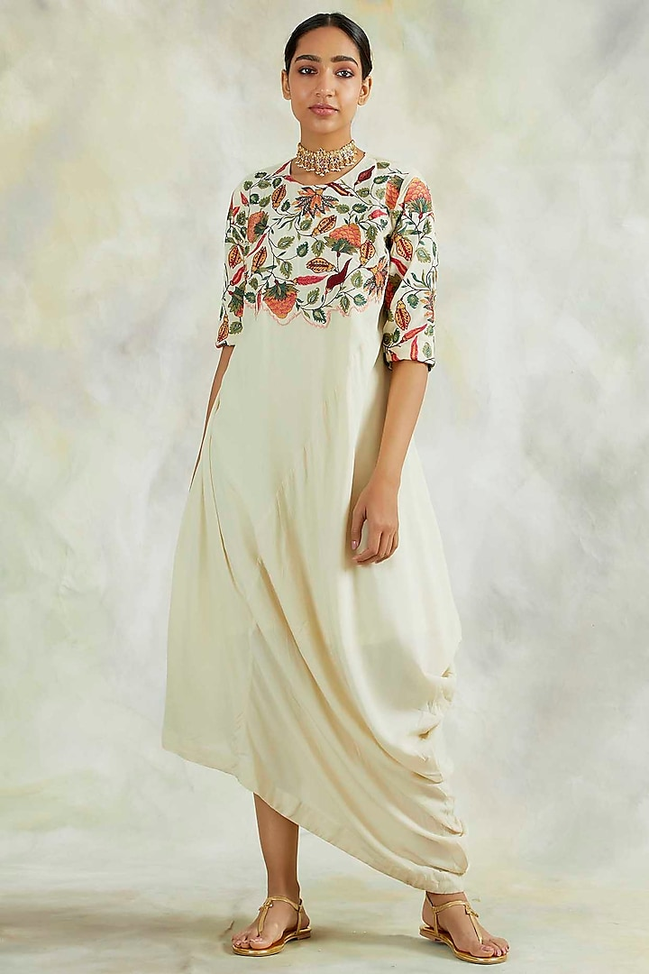 Cream Embroidered Cowl Dress by Palak & Mehak