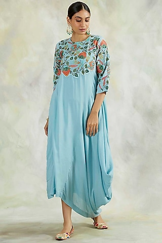 Powder Blue Cowl Dress With Embroidery by Palak & Mehak