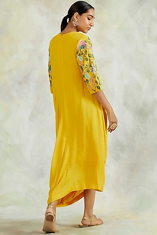 Sunshine Yellow Embroidered Cowl Dress by Palak & Mehak
