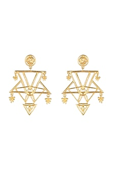 Gold Plated Brass Earrings by Paroma Popat