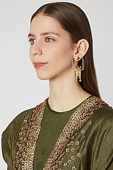 Gold Plated Bird Hanging Earrings by Paroma Popat