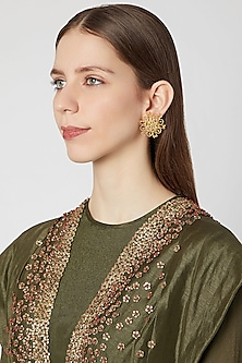 Gold Plated Brass Stud Earrings by Paroma Popat