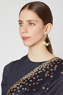 Gold Plated Brass Flower Earrings by Paroma Popat