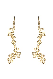 Gold Plated Brass Long Earrings by Paroma Popat