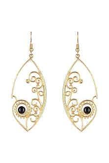 Gold Plated Brass Earrings With Onyx Stone by Paroma Popat