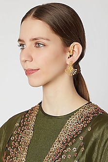 Gold Plated Brass Earcuffs With Black Meena Stone by Paroma Popat