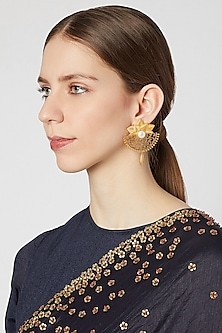 Gold Plated Brass Pearl Earrings by Paroma Popat