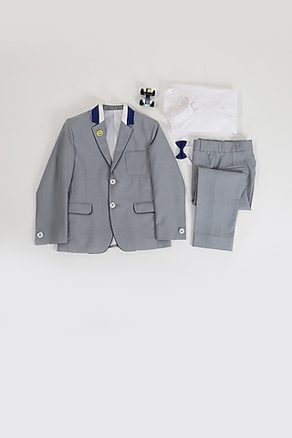 Grey Coat Set With Contrast Detailing by Partykles