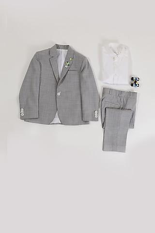 Grey Melange Coat Set by Partykles