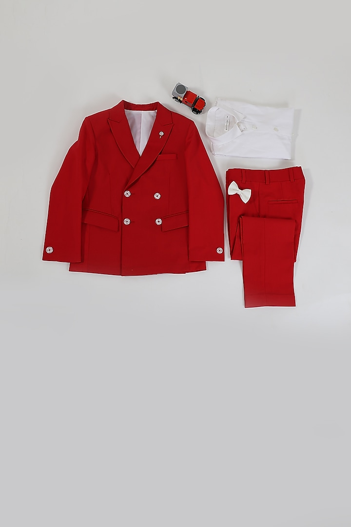 Maroonish Red Double Breasted Suit Set by Partykles