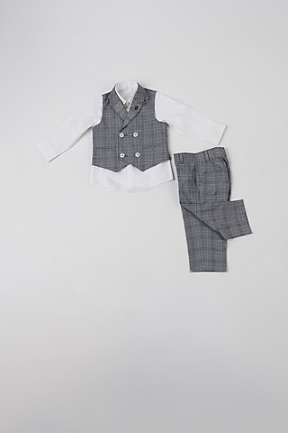 Blue Melange Checkered Waistcoat Set by Partykles