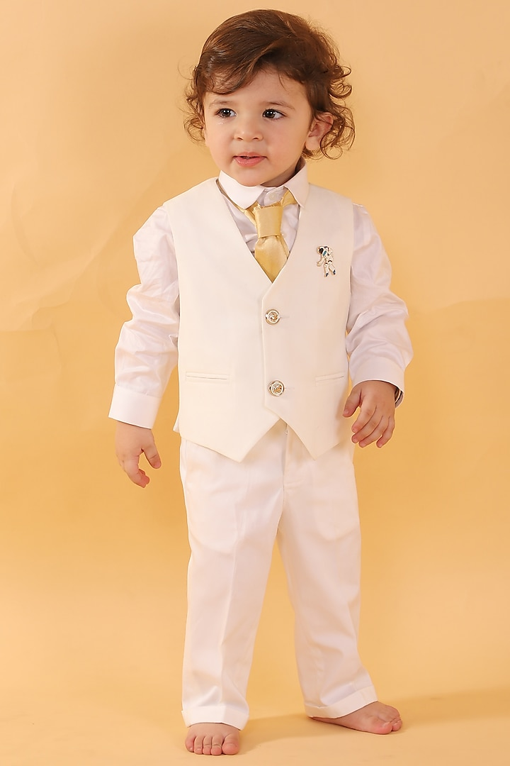Off White Waistcoat Set by Partykles