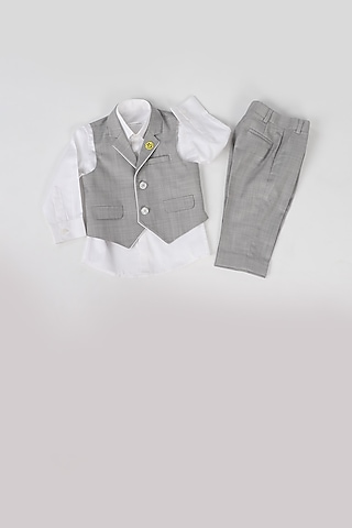 Grey Waistcoat Set With Piping by Partykles