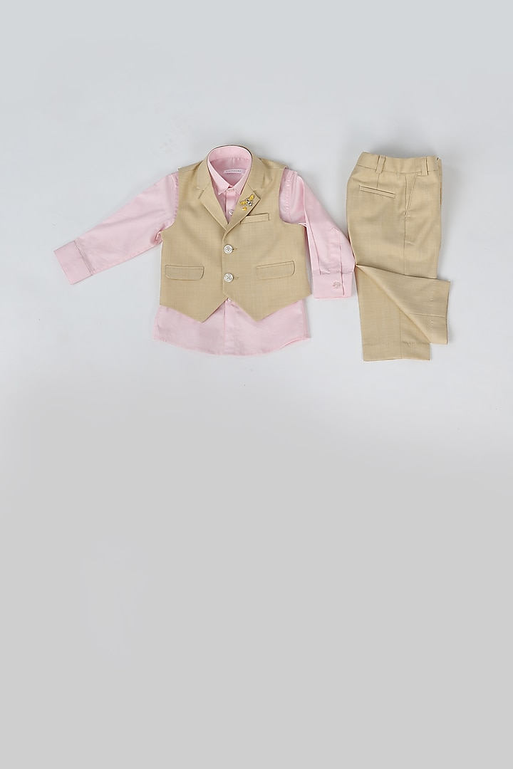 Beige & Pink Waistcoat Set by Partykles