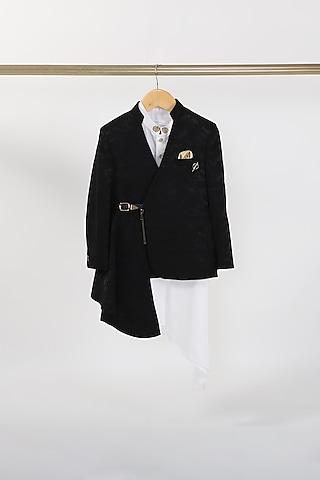 Black Pleated Jodhpuri Jacket Set by Partykles