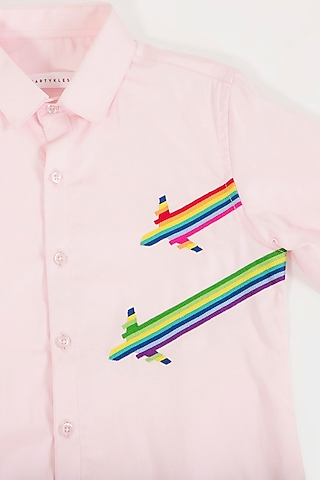 Pink Hand Embroidered Shirt by Partykles