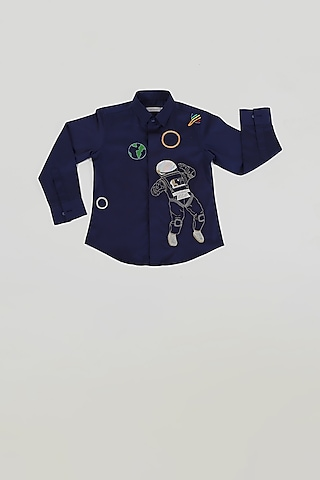 Navy Blue Astronaut Shirt by Partykles