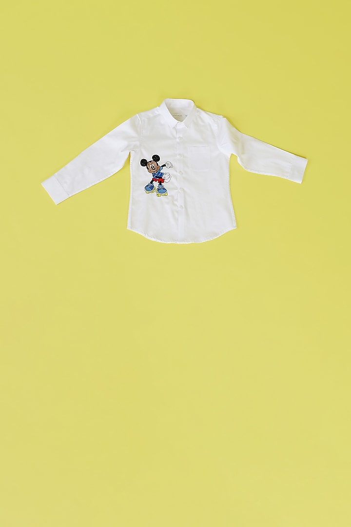 White Hand Embroidered Shirt by Partykles