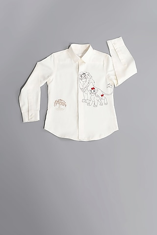 White Simba Hand Embroidered Shirt by Partykles