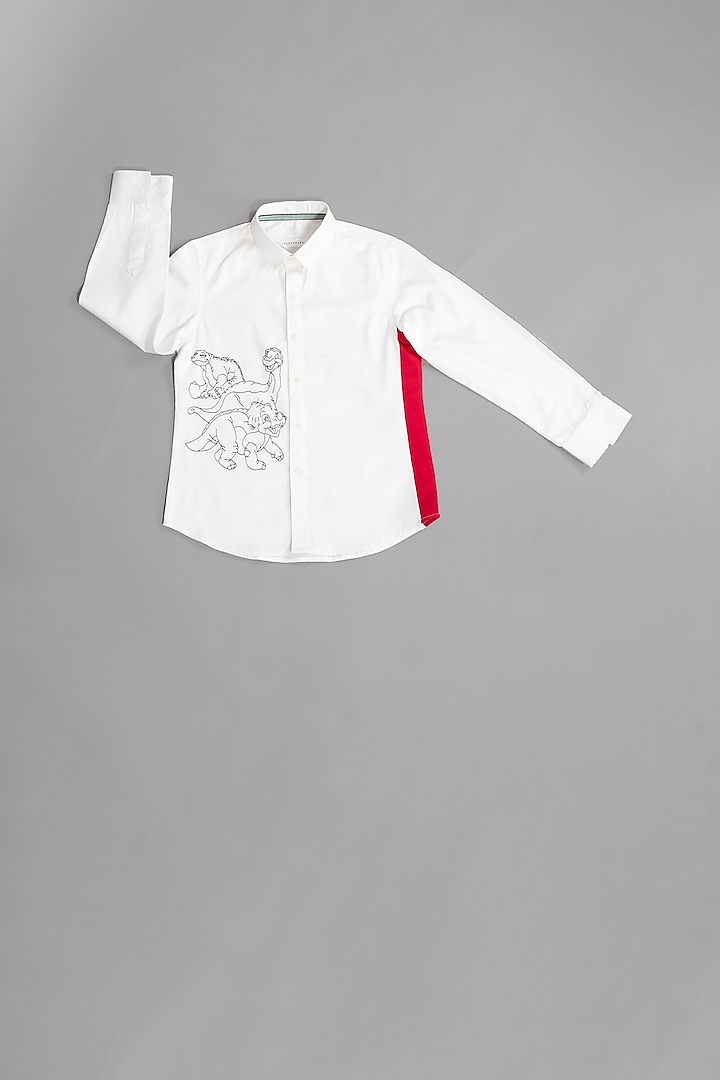White Dinosaur Motif Hand Embroidered Shirt by Partykles