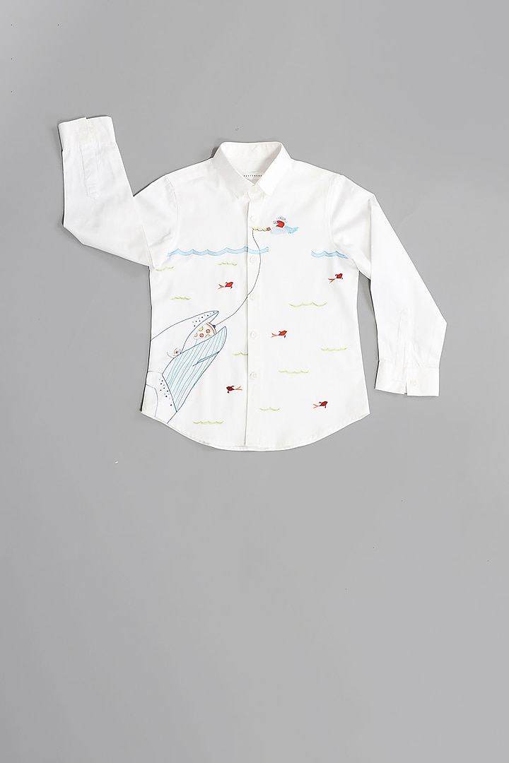 White Cotton Satin Shirt by Partykles
