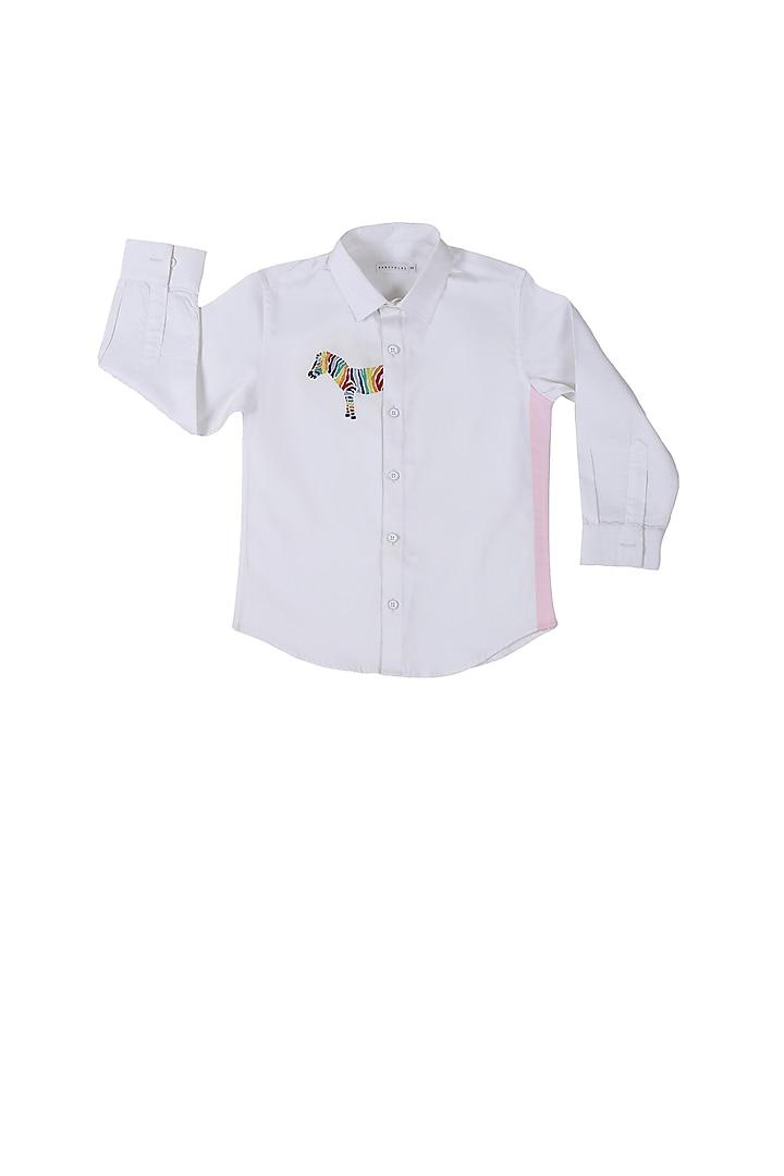 White Rainbow Half Zebra Shirt by Partykles