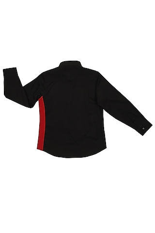 Black Shirt With Embroidered Patchwork by Partykles