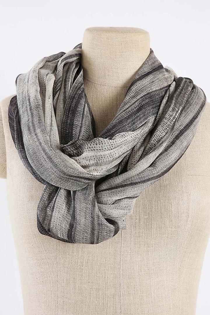 Grey & Black Shibori Printed Scarf by Pashma