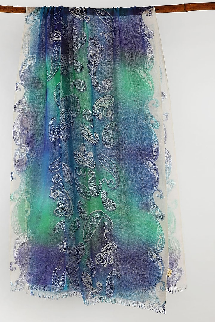 Blue & Green Printed Scarf by Pashma