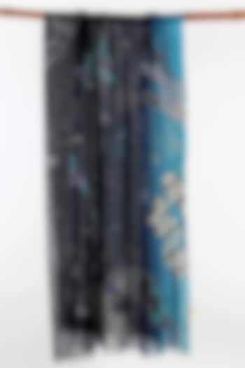 Navy Blue Printed Scarf by Pashma