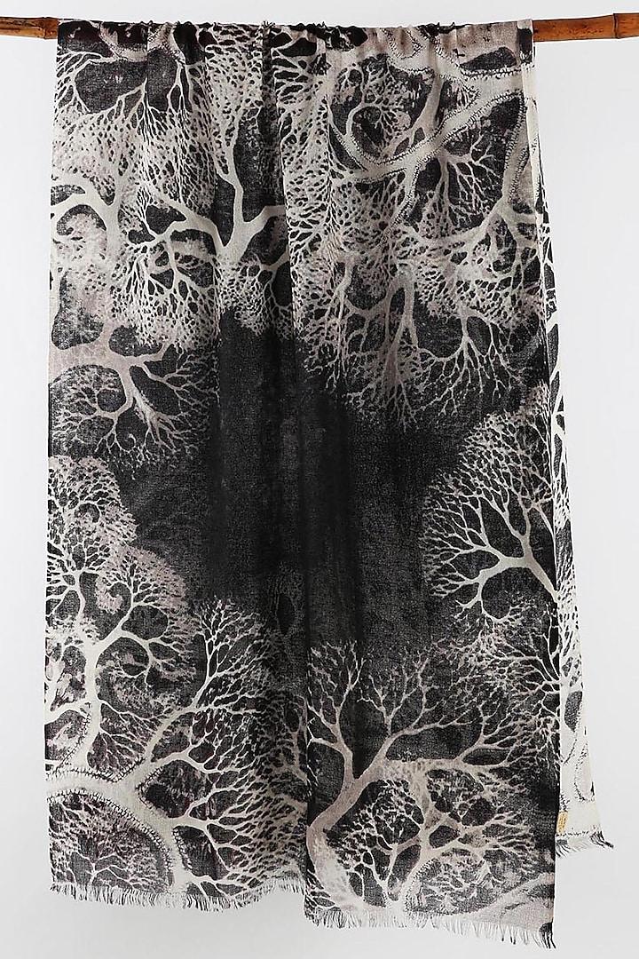 Black & White Printed Scarf by Pashma