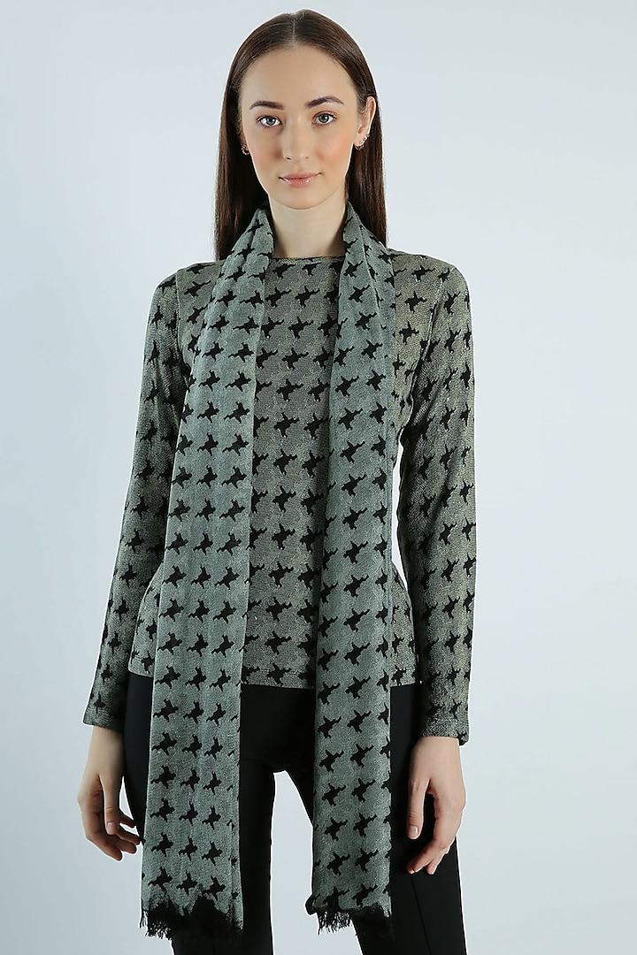 Black & Grey Printed Scarf by Pashma