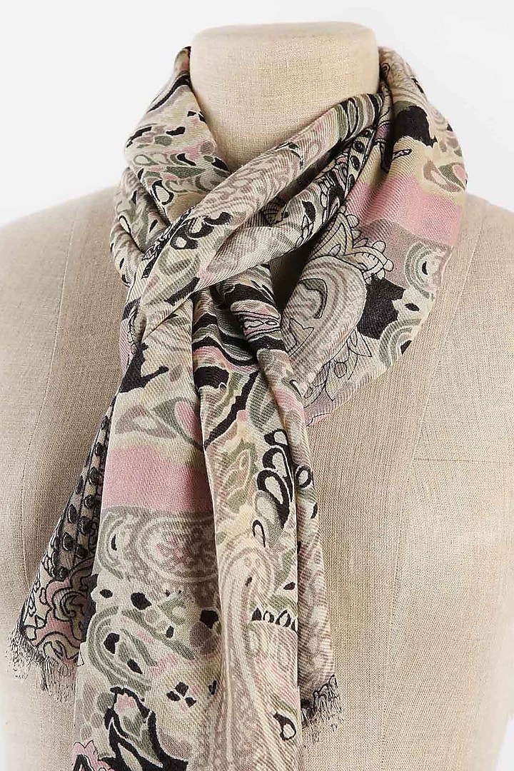 Black, Grey & Pink Printed Scarf by Pashma