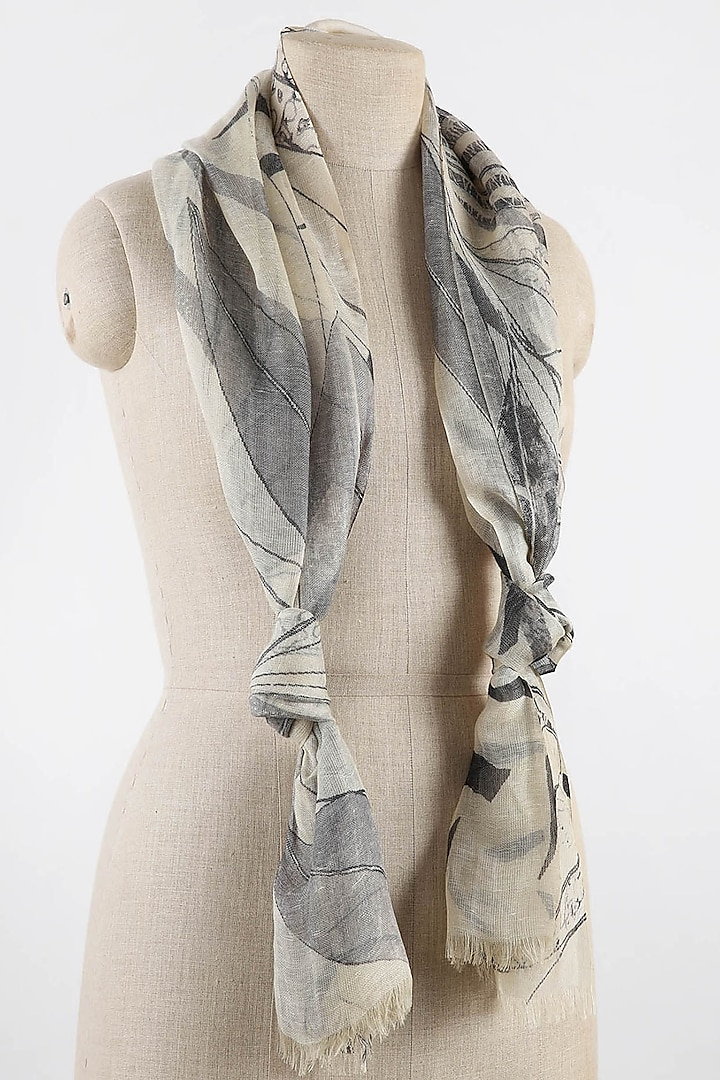 White & Grey Printed Scarf by Pashma