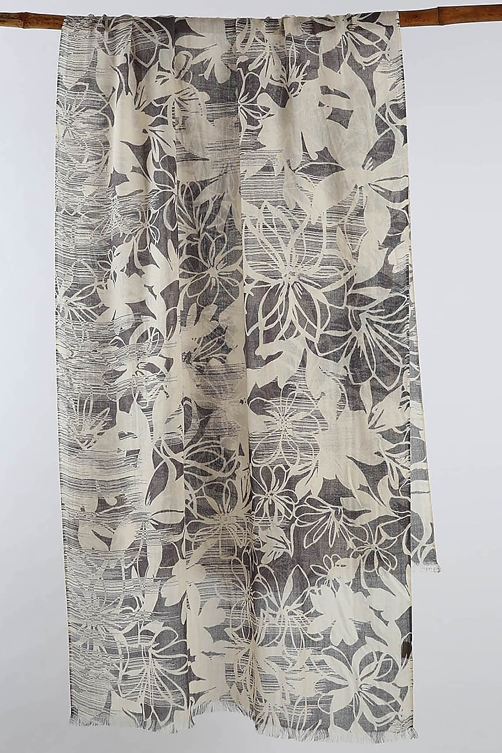 Grey & Black Floral Printed Scarf by Pashma