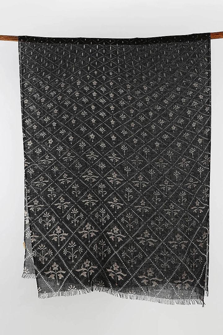 Black & Grey Silk Cashmere Printed Scarf by Pashma