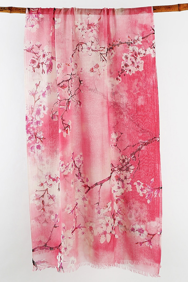 Pink Cherry Blossom Printed Scarf by Pashma