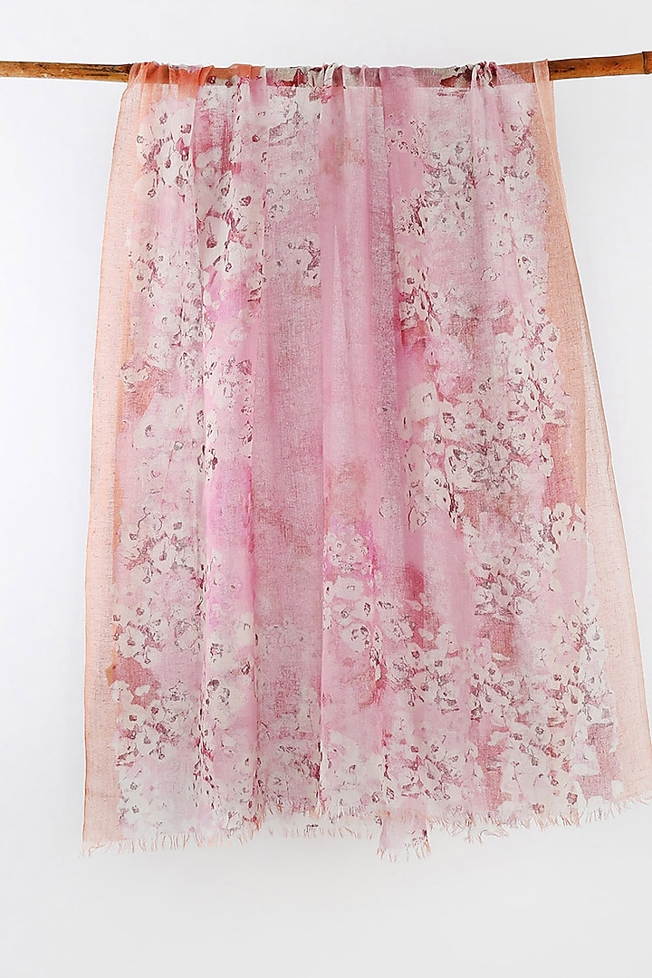 Pink Printed Scarf by Pashma