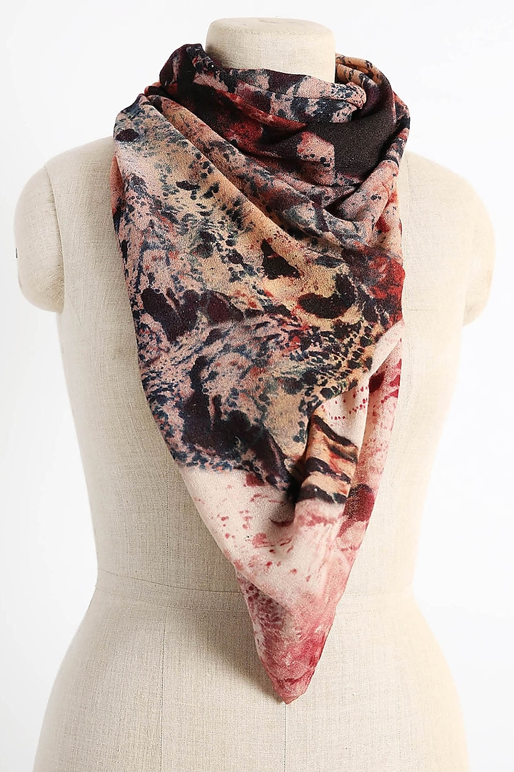 Red & Black Printed Scarf by Pashma