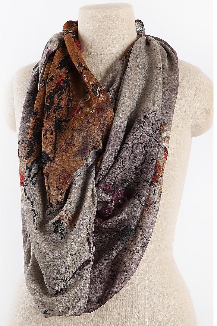 Grey & Deep Beige Printed Scarf by Pashma