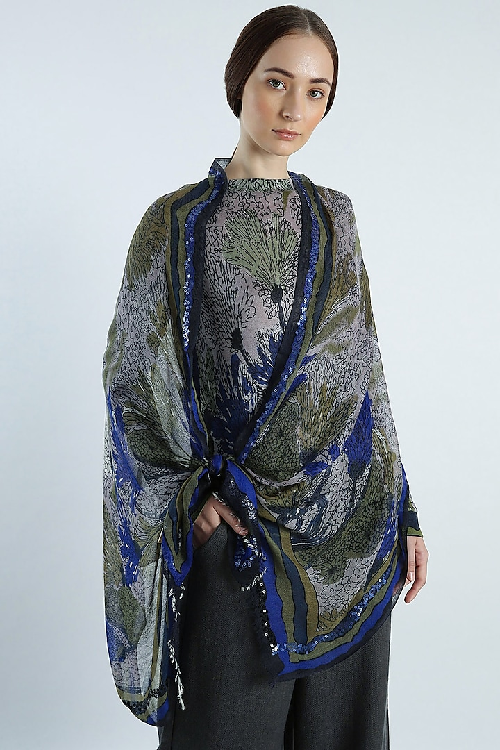 Blue & Grey Abstract Printed Scarf by Pashma