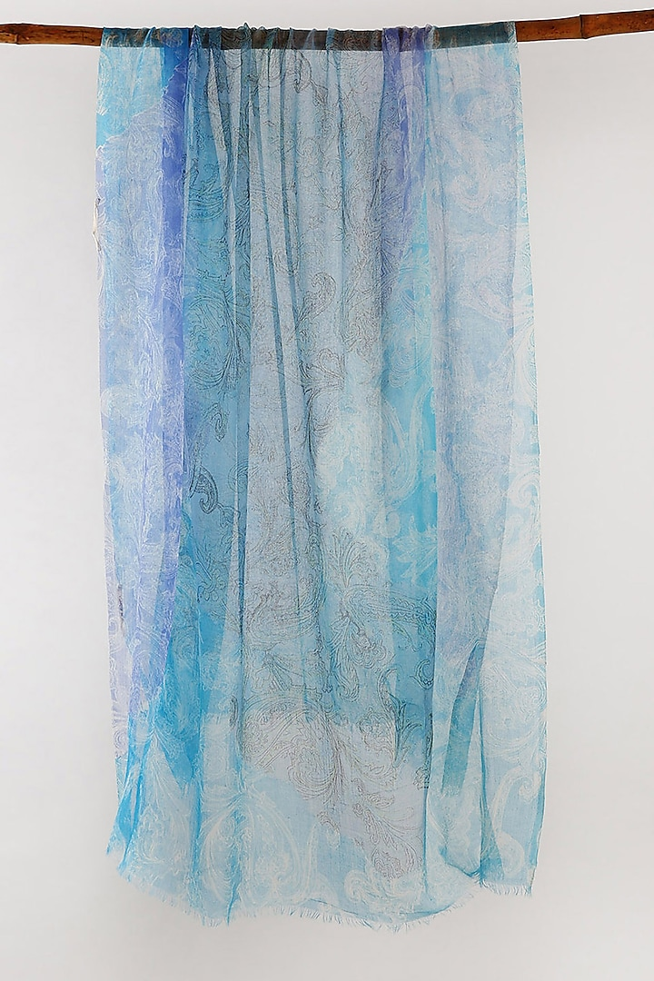 Blue Paisley Printed Scarf by Pashma