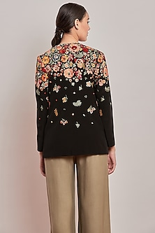 Black Floral Embroidered Jacket by Patine