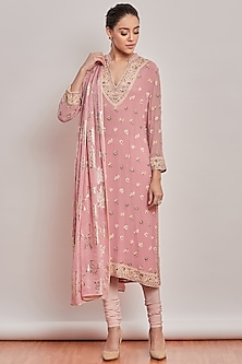 Blush Pink Floral Embroidered Kurta Set by Patine