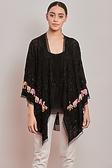 Black Embroidered Shrug With Inner by Patine
